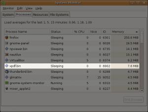 xpdf initially used 7.6 MiB of RAM