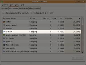 xpdf used 10.2 MiB of RAM