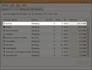 evince used 331.6 MiB of RAM