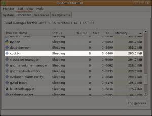 xpdf idled using 0.3 MiB of RAM
