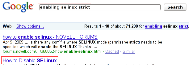 "Googling for ""enabling selinux strict"""