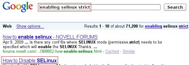 "Googling for ""enabling selinux strict"""