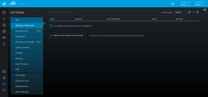 Screenshot of the Unifi Controller WUI's settings page showing no wireless networks