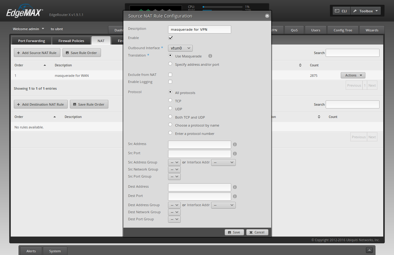 Screenshot of the ER-X WUI with the fields filled-in to add a masquerade rule for the VPN