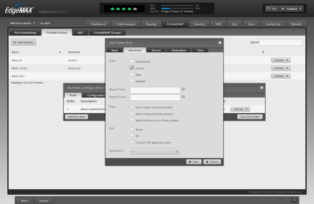 Screenshot of ER-X WUI showing filled-in forms for adding the second rule to the killswith, advanced tab