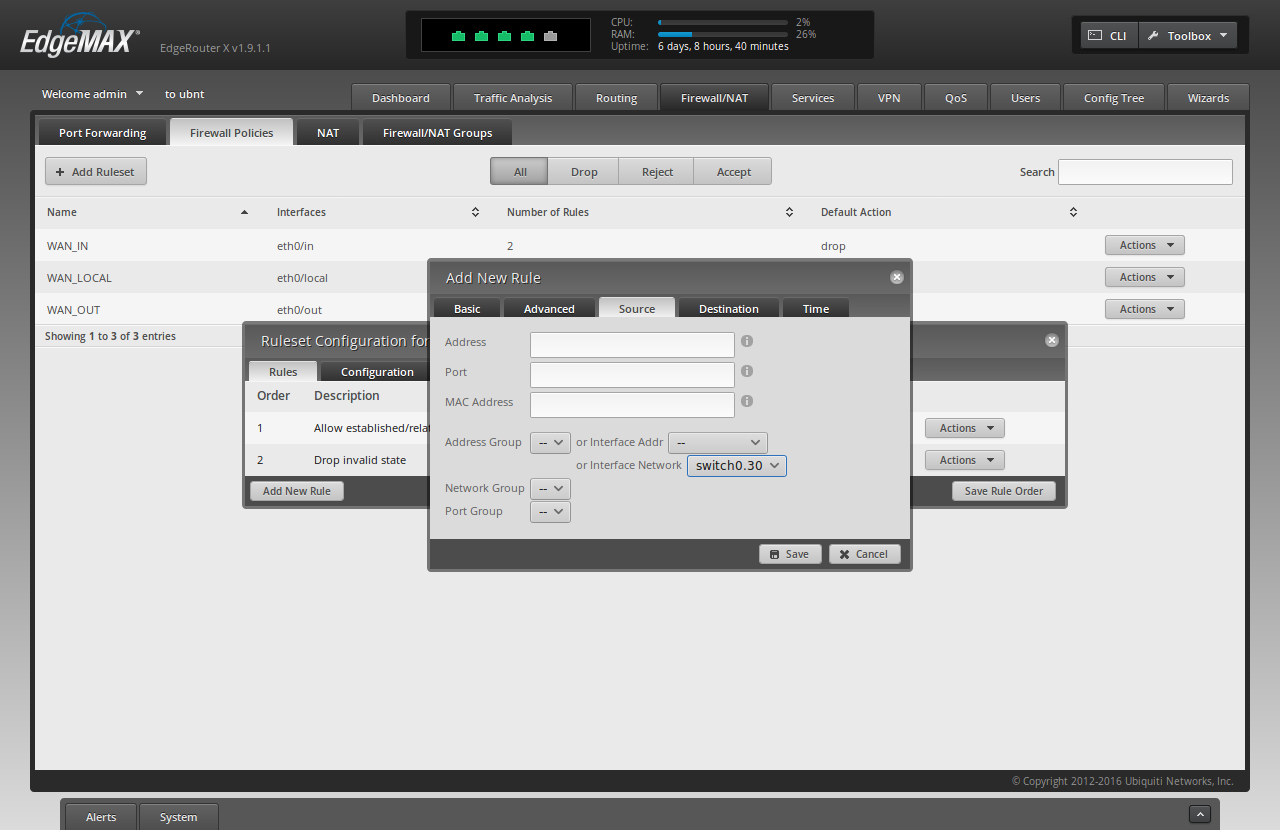 Screenshot of ER-X WUI showing filled-in forms for adding the third rule to the killswith, advanced tab