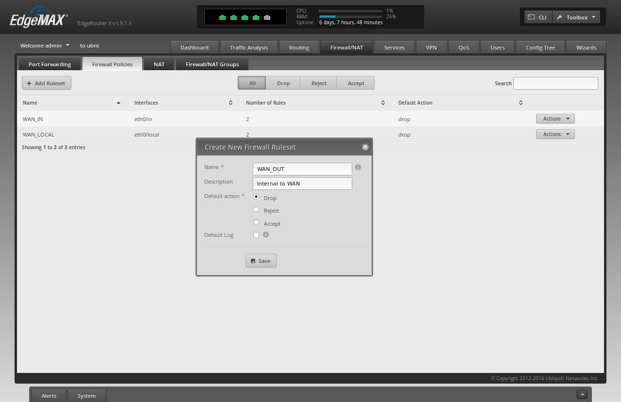 Screenshot of the ER-X WUI showing the filled-out fields to create a new firewall ruleset for the vpn kill switch