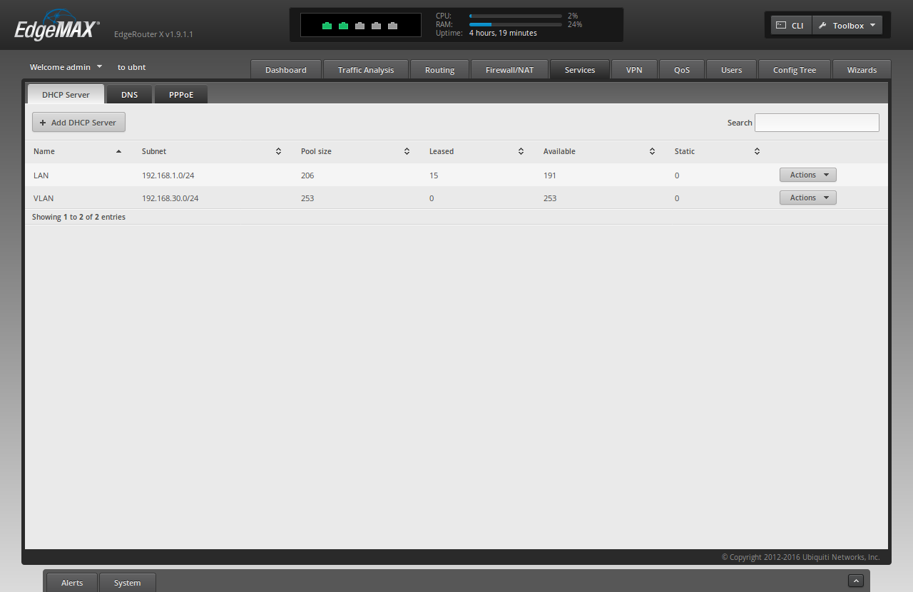 Screenshot of the ER-X WUI showing the newly added dhcp server