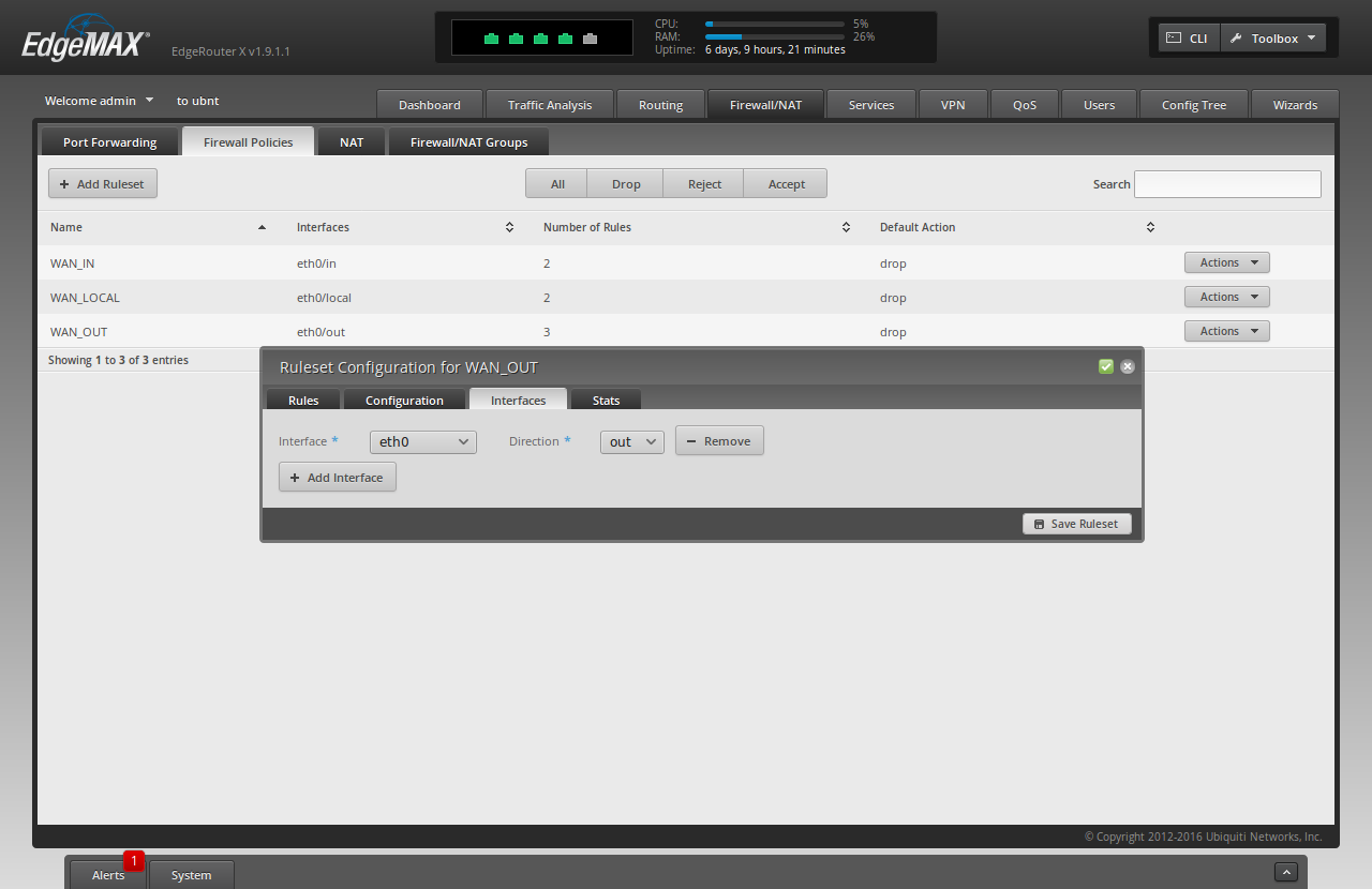 Screenshot of the ER-X WUI showing a summary of the interfaces option for the above-described ruleset