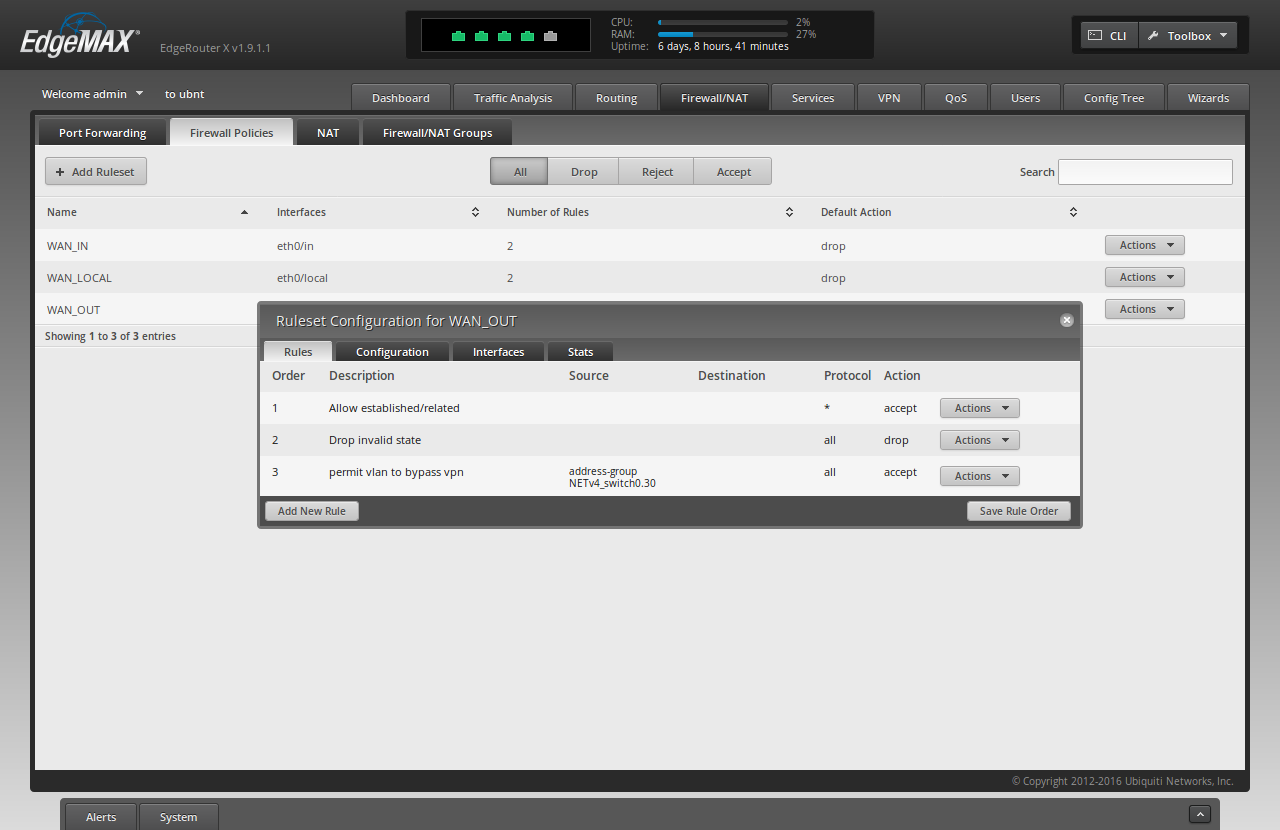 Screenshot of the ER-X WUI showing a summary of the rules added above