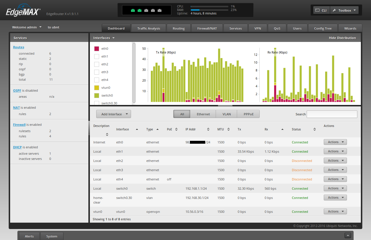 Screenshot of the ER-X dashboard showing the newly added vlan subnet0.30