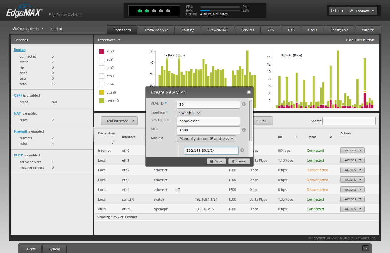 Screenshot of the ER-X WUI with the fields filled-in to add a new VLAN