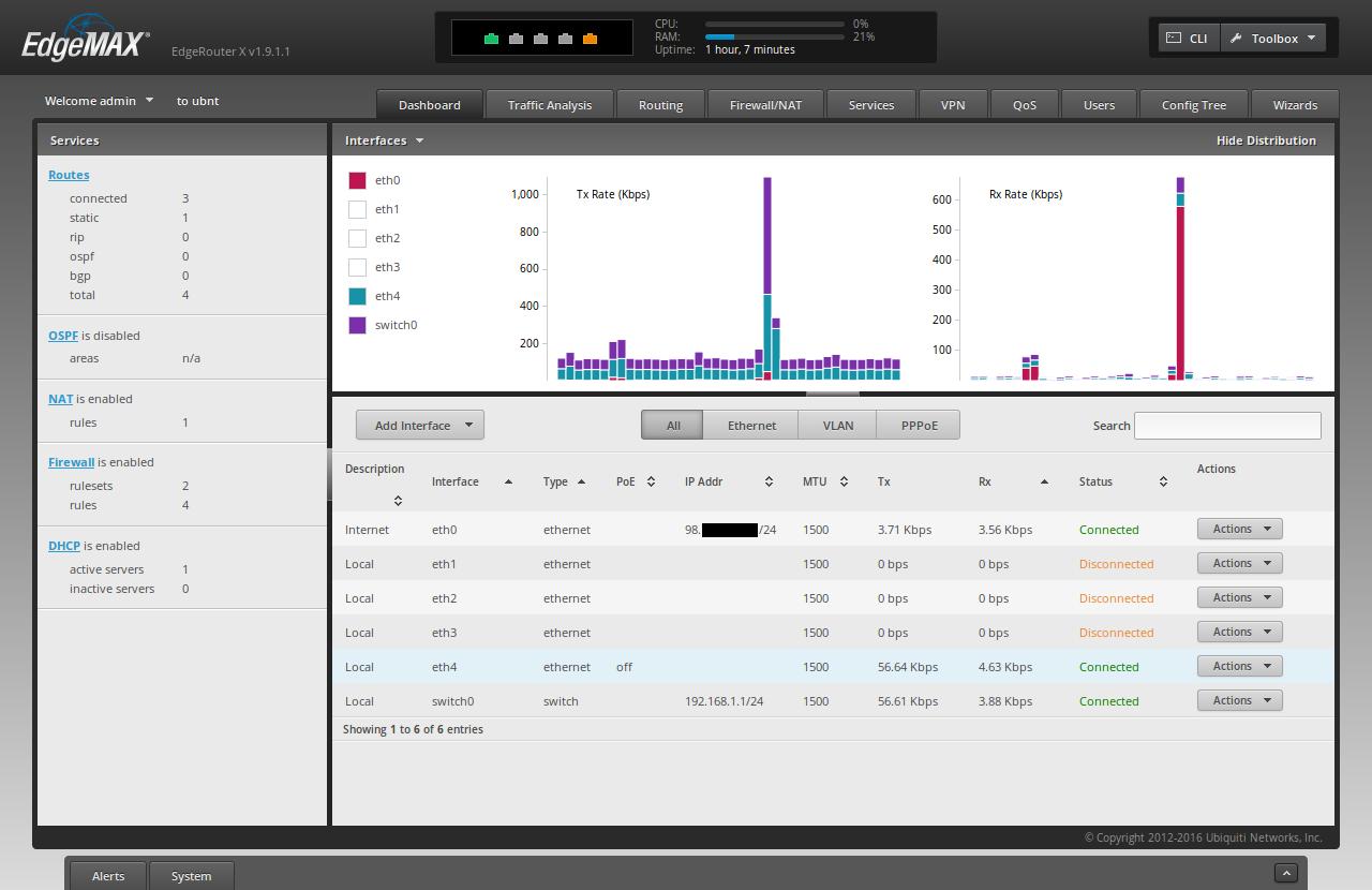 Screenshot of ER-X Dashboard showing eth0 has a WAN IP Address