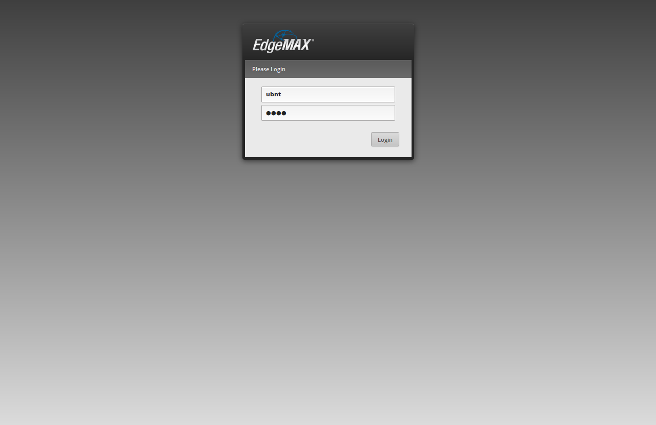 ER-X Login Screen