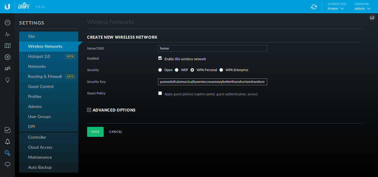 Screenshot of the filled-out form to add the first wireless network