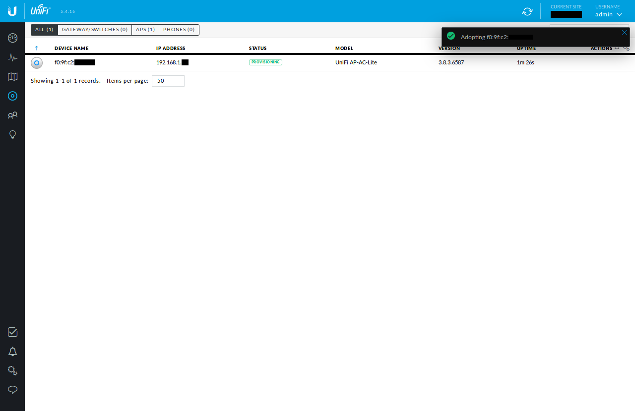 Screenshot of the Unifi Controller WUI showing the AP being adopted