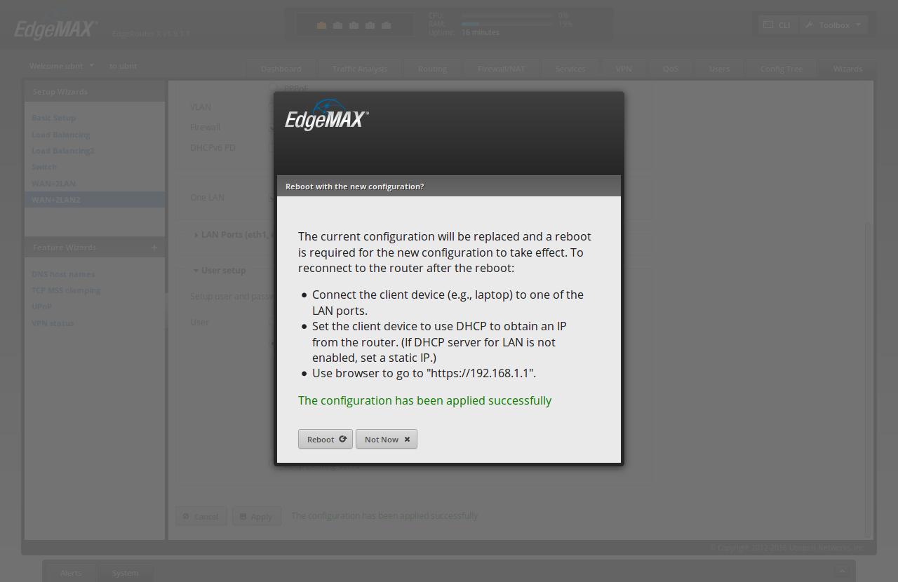 Screenshot showing ER_X WUI saying that the apply was successful