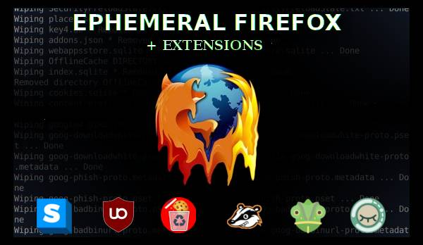 icon of ephemeral firefox with icons of popular extensions below it