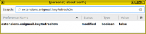 "A screenshot shows Thunderbird's Advanced Config editor with the enigmail ""keyRefreshOn"" setting set to ""false"""