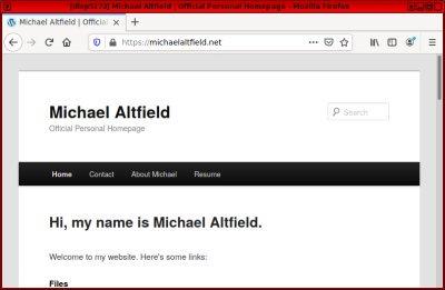 Screenshot of michaelaltfield.net on the clearnet
