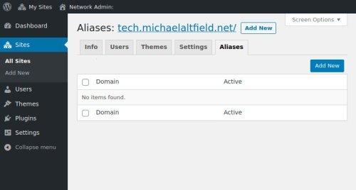 Screenshot of the wordpress multisite dashboard