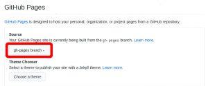 Screenshot of github repo settings' GitHub Pages section