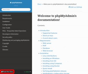 Screenshot of the phpMyAdmin documentation