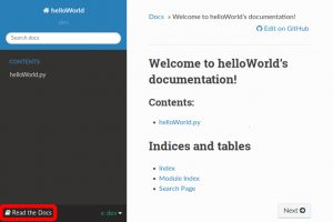 Screnshot of our helloWorld rtd documentation