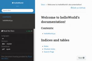 Screnshot of our helloWorld rtd documentation's lower-left menu