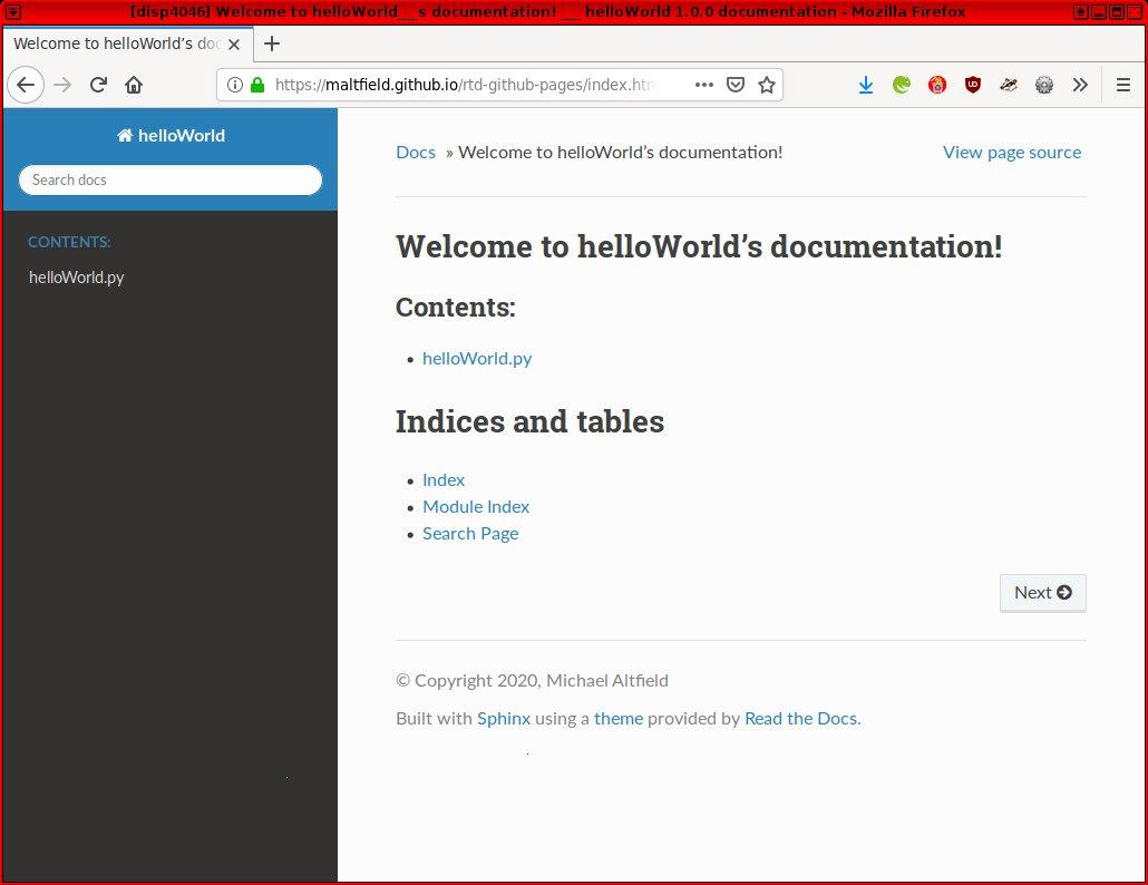 Screenshot of firefox browsing maltfield.github.io/rtd-github-pages/